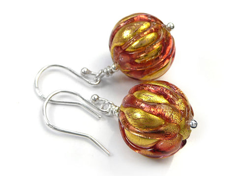Murano Glass Earrings - Ribbed Peach Melba