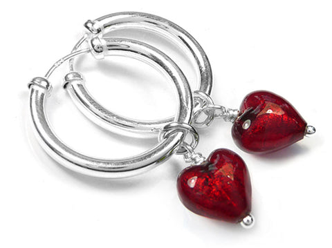 Murano Glass Earrings - Ruby Hoops