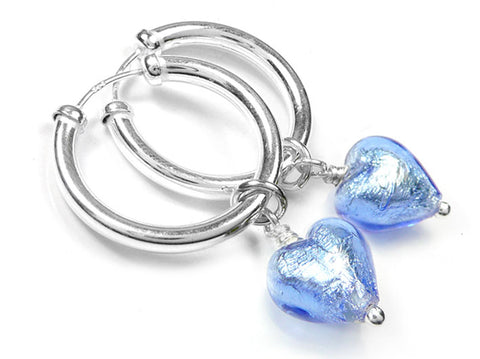 Murano Glass Earrings - Sapphire Hoops