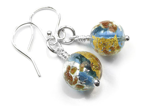 Murano Glass Earrings - Sapphire Treasure