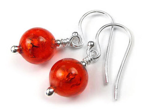 Murano Glass Earrings - Scarlet