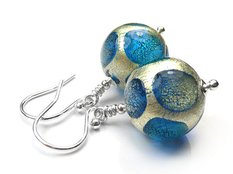 Murano Glass Earrings - Turquoise Spot