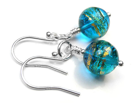 Murano Glass Earrings - Turquoise Blue