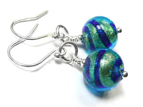 Murano Glass Earrings - Turquoise Gold