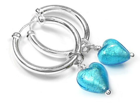 Murano Glass Earrings - Turquoise Hoops