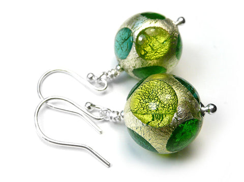 Murano Glass Earrings - Verde Spot