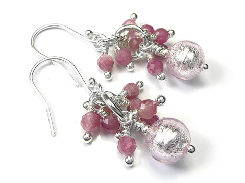 Murano Glass Gemstone Earrings - Pale Pink Tourmaline