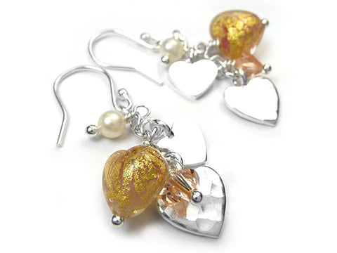 Murano Glass Heart Amore Earrings - Salmon