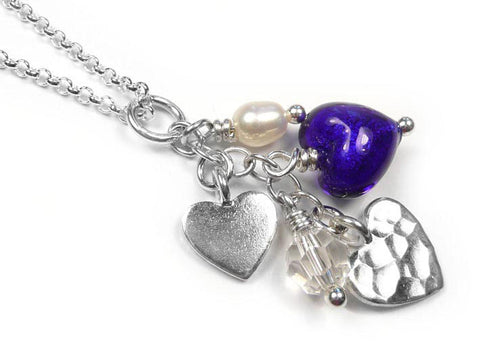 Murano Glass Heart Amore Pendant - Electric