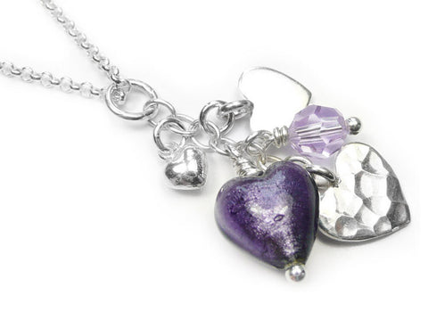 Murano Glass Heart Amore Pendant - Purple Velvet