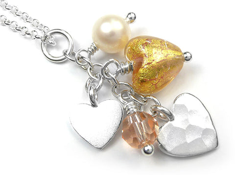 Murano Glass Heart Amore Pendant - Salmon