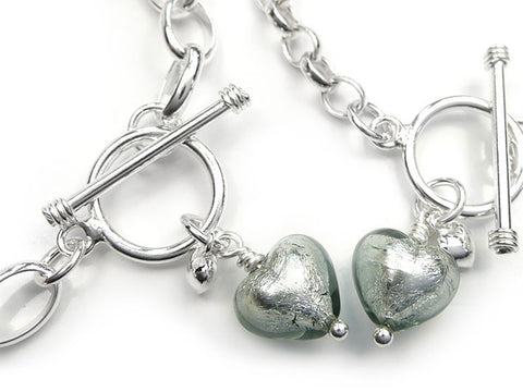 Murano Glass Heart Bracelet - Black Diamond