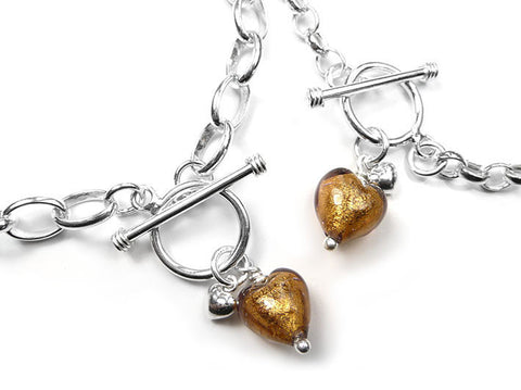 Murano Glass Heart Bracelet - Chocolate