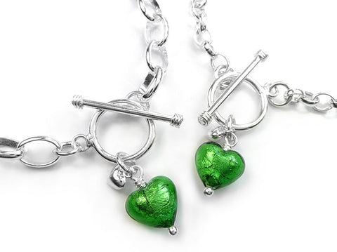 Murano Glass Heart Bracelet - Emerald