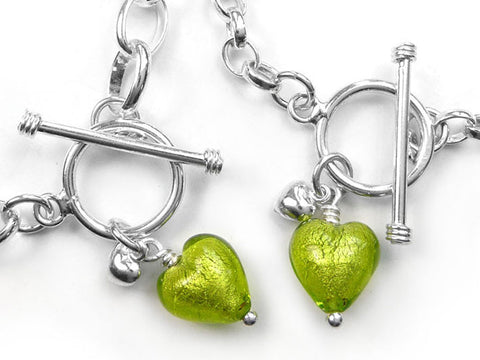 Murano Glass Heart Bracelet - Lime