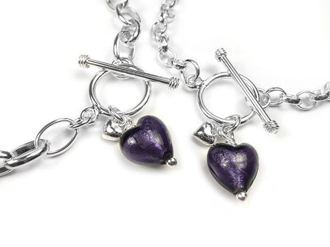 Murano Glass Heart Bracelet - Purple Velvet