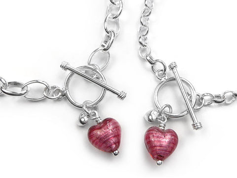 Murano Glass Heart Bracelet - Raspberry