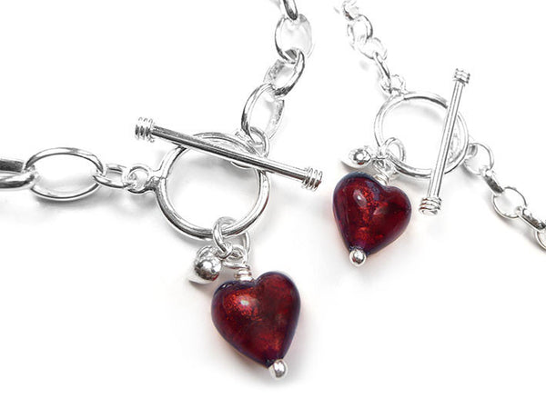 Murano Glass Heart Bracelet - Ruby