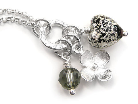 Murano Glass Heart Charm Pendant - Black and White Gold