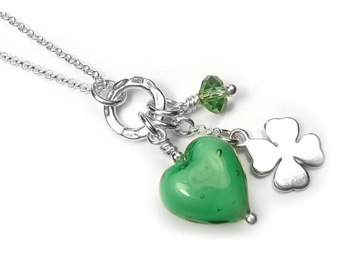 Murano Glass Heart Charm Pendant - Emerald White Core