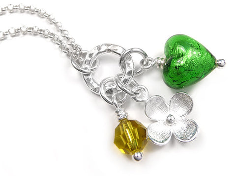 Murano Glass Heart Charm Pendant - Emerald