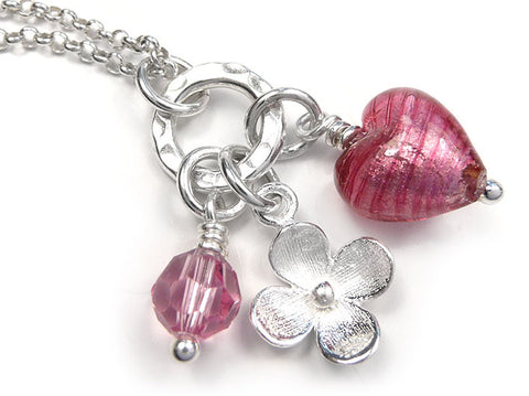 Murano Glass Heart Charm Pendant - Raspberry