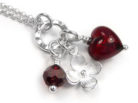 Murano Glass Heart Charm Pendant - Ruby