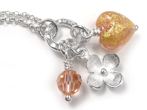 Murano Glass Heart Charm Pendant - Salmon