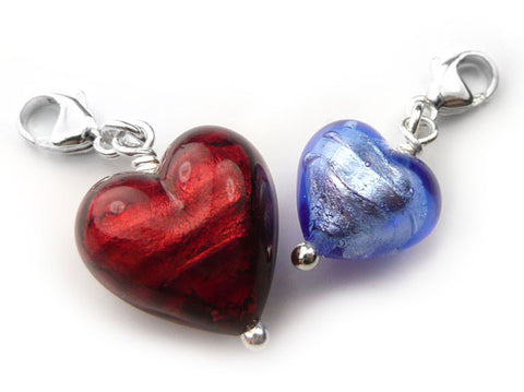 Murano Glass Heart Charms - Medium