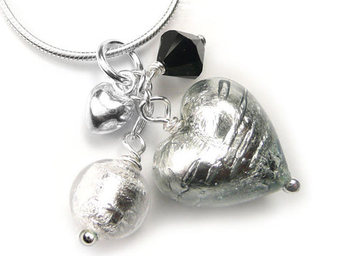 Murano Glass Heart Cluster Pendant - Black Diamond