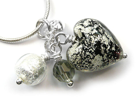 Murano Glass Heart Cluster Pendant - Black and Silver