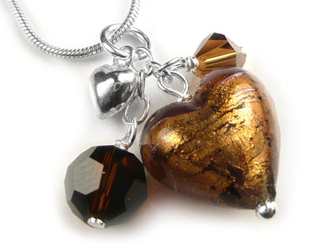 Murano Glass Heart Cluster Pendant - Chocolate