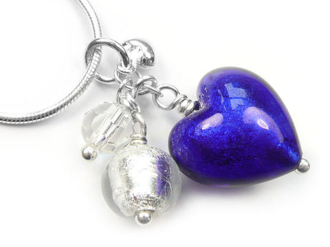 Murano Glass Heart Cluster Pendant - Electric