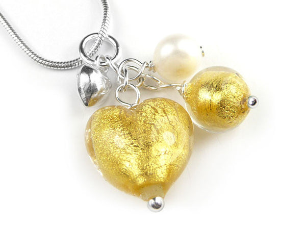Murano Glass Heart Cluster Pendant - Gold