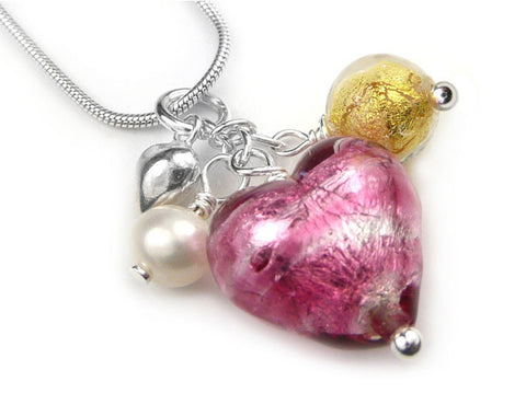 Murano Glass Heart Cluster Pendant - Raspberry Ripple and Gold