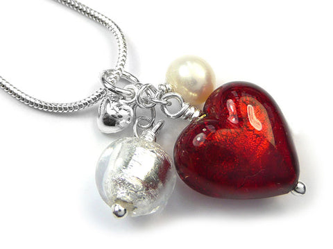 Murano Glass Heart Cluster Pendant - Ruby