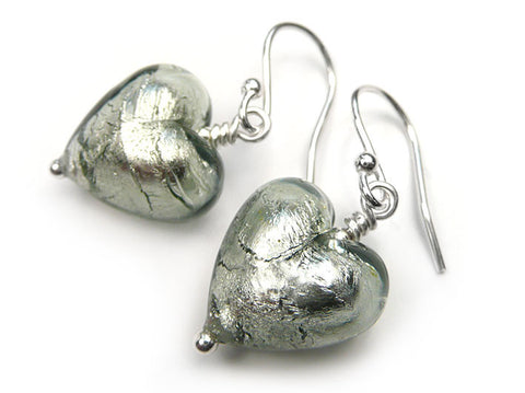 Murano Glass Heart Earrings - Black Diamond