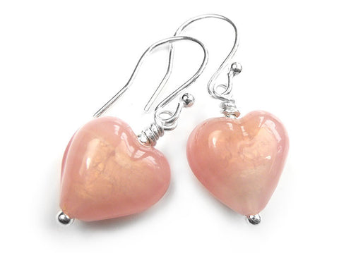 Murano Glass Heart Earrings - Blush Satin
