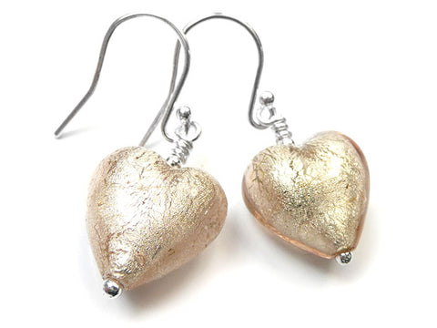 Murano Glass Heart Earrings - Champagne