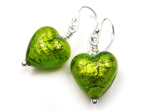 Murano Glass Heart Earrings - Chartreuse