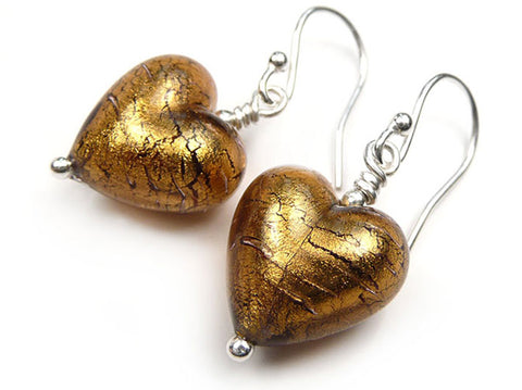 Murano Glass Heart Earrings - Chocolate