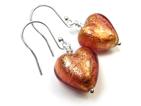 Murano Glass Heart Earrings - Copper