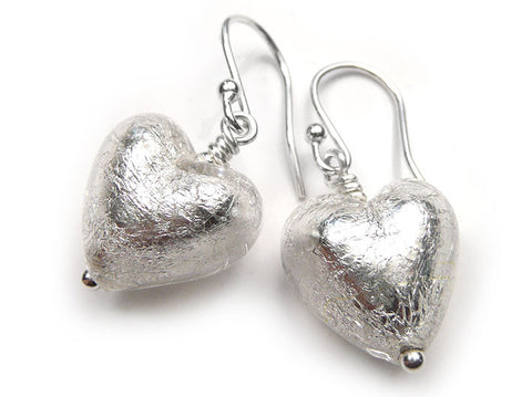 Murano Glass Heart Earrings - Crystal