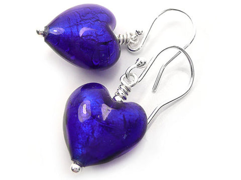 Murano Glass Heart Earrings - Electric