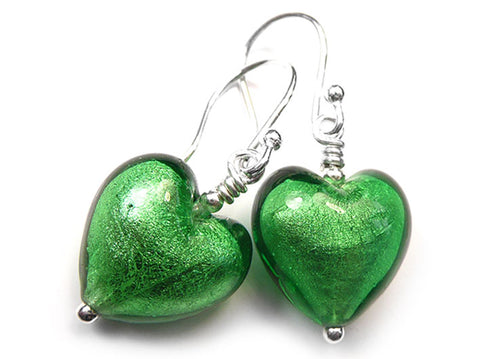 Murano Glass Heart Earrings - Emerald