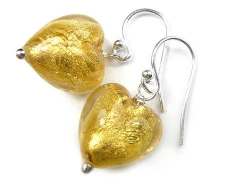 Murano Glass Heart Earrings - Gold