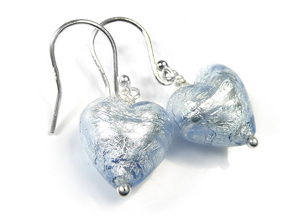 Murano Glass Heart Earrings - Ice Blue