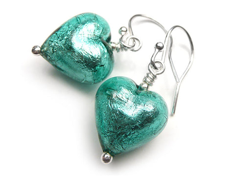 Murano Glass Heart Earrings - Jade