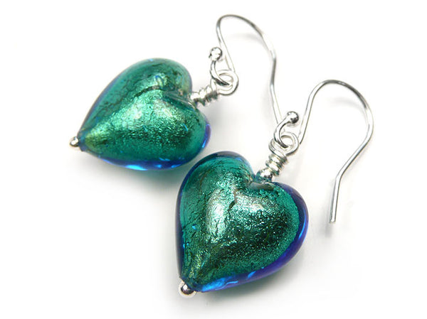 Murano Glass Heart Earrings - Kingfisher