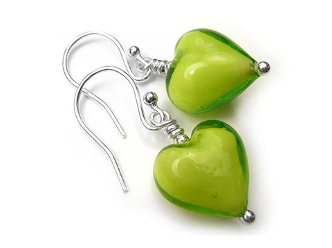 Murano Glass Heart Earrings - Lime White Core